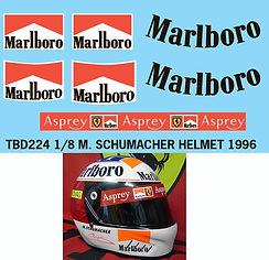 1/8 MARLBORO SCHUMACHER HELMET MISSING SPONSOR  DECALS 1996 DECAL TBD224