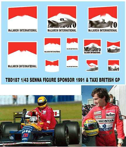1/43 SENNA FIGURE SPONSOR 1991 BRITISH F1 TBD187