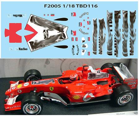 1/18 FERRARI F1 F2005 F 2005 SCHUMACHER TBD116
