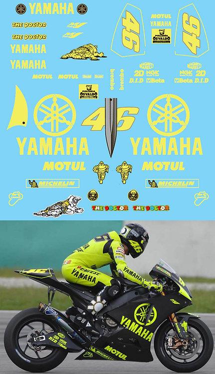 1/12 Valentino Rossi Test Bike Yamaha M1 Qatar/Sepang 2007 Decals  TBD275