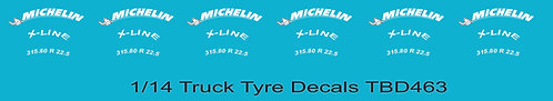 1/14 Michelin Tire Decals for Trucks  Tyre Pneumatici  Lorry Camion  TBD463
