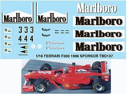 1/18 MARLBORO FERRARI F300 1998 SPONSOR MICHAEL SCHUMACHER DECALS TB DECAL TBD137