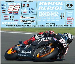 1/12 MARQUEZ TEST VALENCIA  2013 2014  HONDA RC213V DECALS TB DECAL TBD167