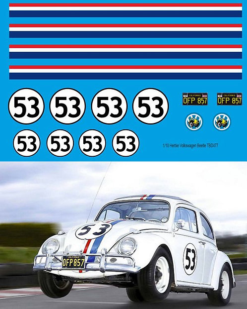 1/10 Herbie Decals for RC  Volkswagen Beetle  TB Decal TBD477
