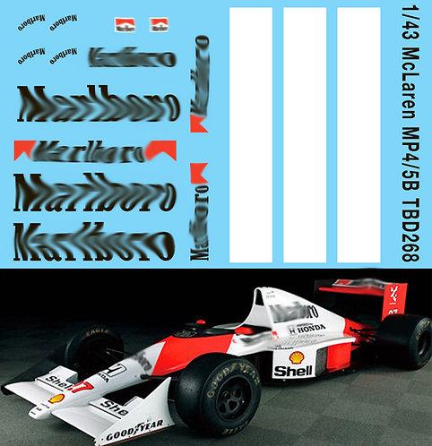 1/43 McLaren Honda MP4/5B F1 Ayrton Senna A. Prost  Decals TB Decal TBD268