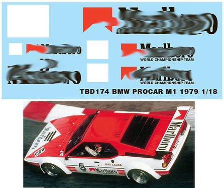 1/18 DECAL BMW PROCAR M1 1979 NIKI LAUDA TBD174