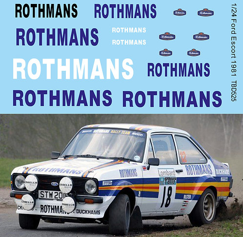 1/24 Sponsor Decals for Ford Escort RS 1800 MK II 1981 TB Decal TBD525