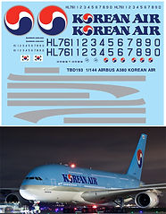 1/144 AIRBUS A380 AIR KOREAN LIVERY REVELL DECALS TB DECAL TBD193