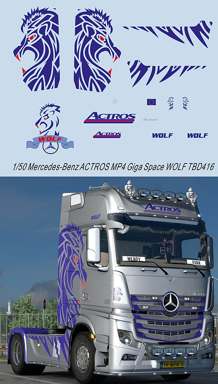 1/50 Mercedes-Benz ACTROS MP4 Giga Space WOLF Decals Decal TBD416