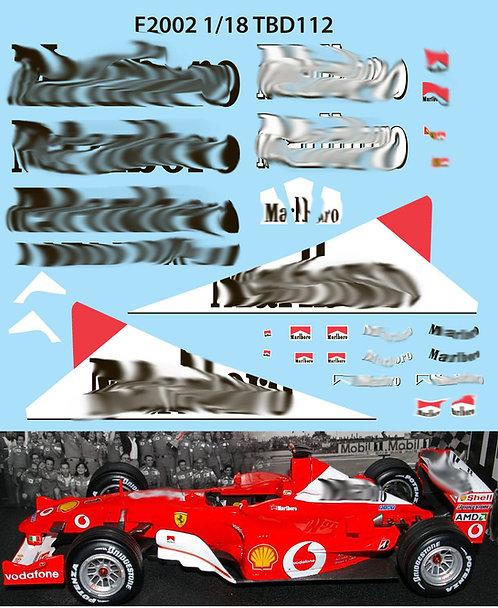 1/18 FERRARI F1 F2002 F 2002 SCHUMACHER TBD112