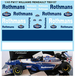 1/43 ROTHMANS FW17 WILLIAMS RENAULT DECALS TB DECAL TBD157