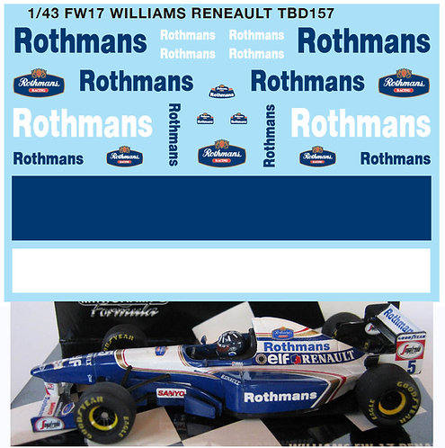 1/43 FW17 WILLIAMS RENAULT DECALS TB DECAL TBD157