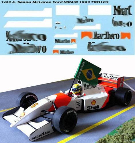1/43 FOR McLAREN FORD MP4/8  SENNA 1993 F1 TBD105