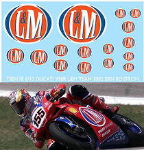 1/12 BEN BOSTROM SPONSOR DUCATI 998R L&M TEAM 2002  DECALS  TB DECAL TBD178