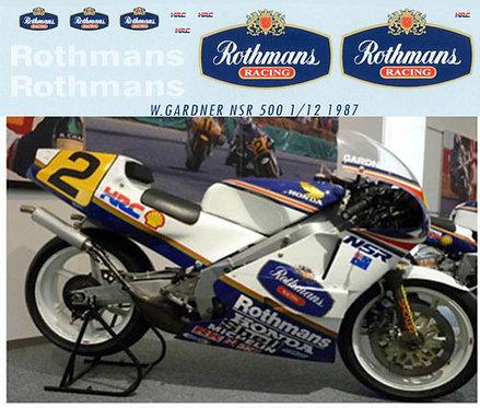 1/12 HONDA NSR 500 W GARDNER 1987 ROTHMANS TBD31