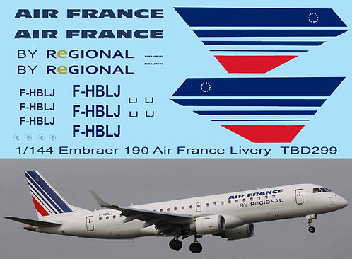 1/144  Air France Livery Decals for Embraer 190 Decal TBD299
