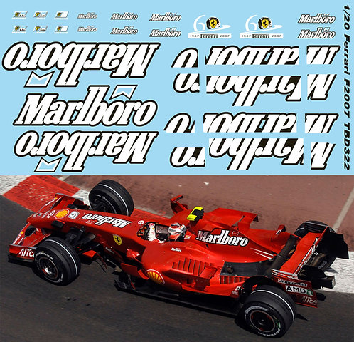 1/20 FERRARI F1 F2007 FOR FUJIMI F 2007 SPONSOR  DECALS TB DECAL TBD322