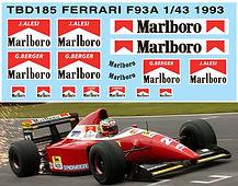 1/43 MARLBORO FERRARI F93A F1 1993 SPONSOR DECALS TB DECAL TBD185