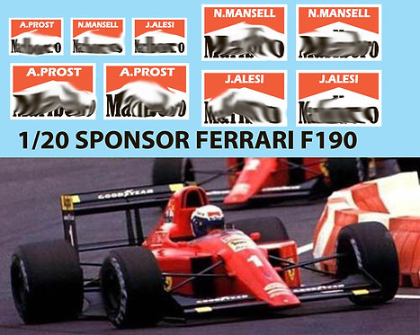 1/20  SPONSOR for Fujimi Ferrari F190 DECALS TBD72