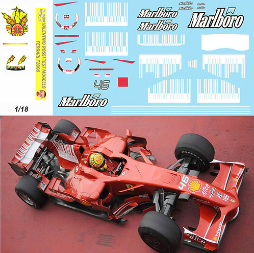 1/18 Valentino Rossi Test FERRARI F2008 DECALS F1 INC. SHARK BARCODE TBD341