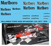 1/43 MARLBORO MCLAREN FORD M26 1977 1978 SPONSOR DECALS TB DECAL TBD60