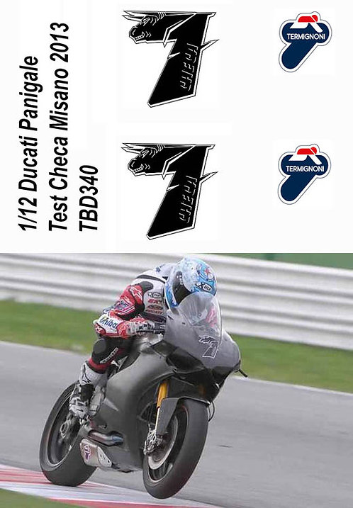 1/12 Ducati Panigale SBK  1199R Test Carlos Checa Misano 2013 Decals TB Decal TB