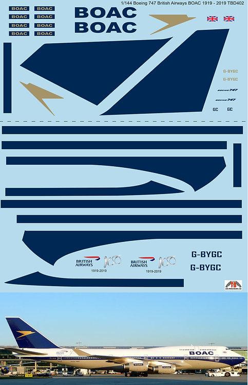 1/144  Boeing 747 BOAC Anniversary 1919 - 2019 British Airways livery Decall