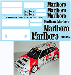 1/18 MARLBORO TOYOTA COROLLA RALLY 1989 FOR AUTOART DECALS TB DECALS  TBD155