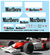 1/18 MARLBORO MCLAREN  MP4/2C 1986 SPONSOR DECALS TB DECAL TBD172