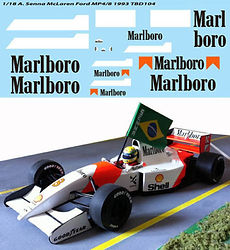 1/18  MARLBORO FOR McLAREN FORD MP4/8 AYRTON SENNA 1993 F1 DECALS TB DECAL TBD104