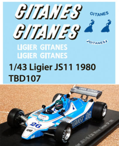 1/43 GITANES FOR LIGIER JS11 1980 DECALS TB TBD107