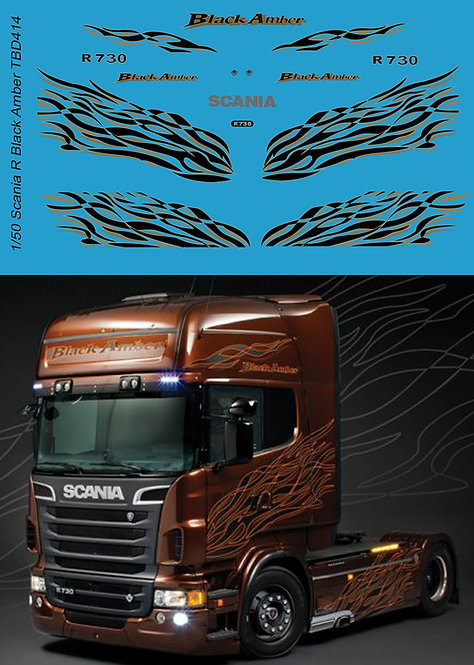1/50 Scania R Black Amber livery Decals TB Decal TBD414
