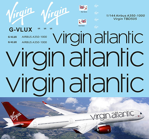 1/144 Virgin Airlines Livery Decals for Airbus A350 1000  TB Decal TBD505
