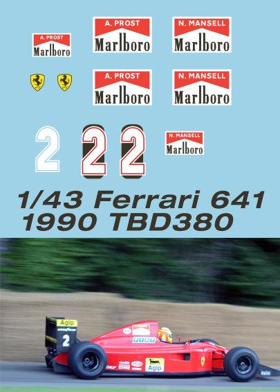 1/43 Ferrari 641 1990 Prost Mansell Decals TB Decal TBD380