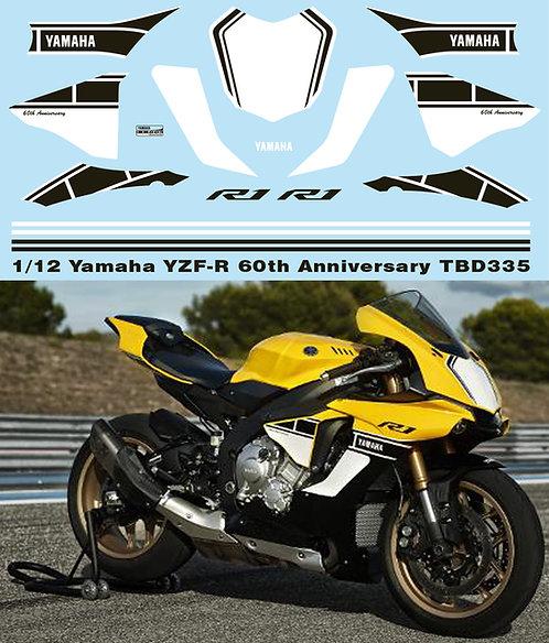 1/12 YAMAHA YZF-R1 M 60TH  ANNIVERSARY DECALS SET FOR TAMIYA KIT 1413 TBD335