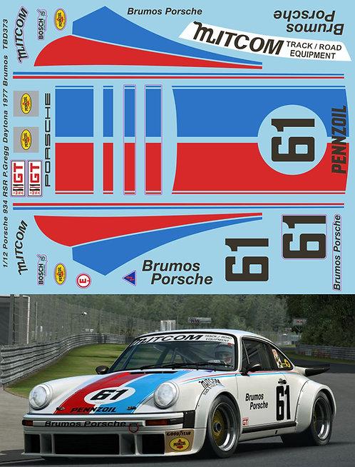 1/12 Porsche 934 RSR P.Gregg Daytona 1977 Brumos Decals TB Decal TBD373