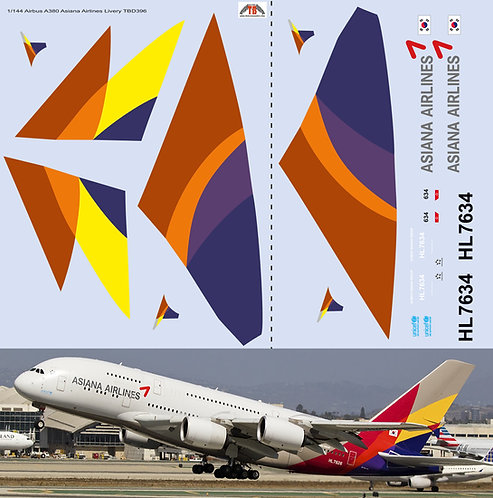 1/144 Airbus A380 Asiana Airlines Livery Decals TB Decal TBD396