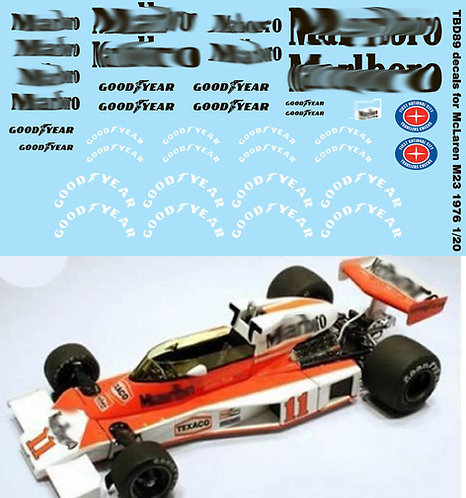 1/20 MCLAREN M23 1976 FOR TAMIYA SPONSOR TBD89