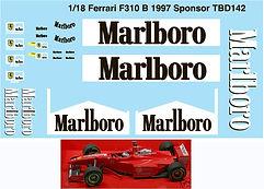 1/18 MARLBORO FERRARI SPONSOR F310B 1997 MICHAEL SCHUMACHER DECALS TB DECAL TBD142