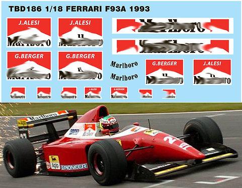 1/18 FERRARI F93A F1 1993 SPONSOR DECALS TBD186