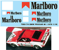 1/18 MARLBORO DECAL BMW PROCAR M1 1979 NIKI LAUDA DECALS TB DECAL TBD174