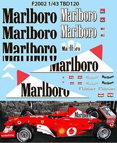 1/43 MARLBORO  FERRARI F1 F2002 2002 MICHAEL SCHUMACHER SPONSOR DECALS TB DECAL TBD120