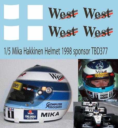 1/5 Mika Hakkinen 1998 Helmet Sponsor Decals TB Decal TBD377