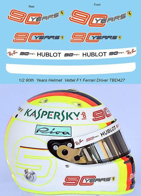 1/2 Vettel Helmet 2019 90 th Ferrari F1 Anniversary  Decals TB Decal TBD427