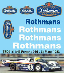 1/43 ROTHMANS  PORSCHE 956 L LE MANS 1983 DECALS  TB DECAL TBD216