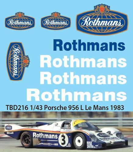 1/43  PORSCHE 956 L LE MANS 1983 DECALS  TBD216