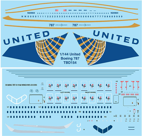 1/144  UNITED AIRLINES LIVERY BOEING 787  TBD154