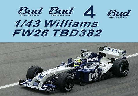 1/43 F1 Missing BUD Decals Williams FW26 2004 Schumacher  Montoya TBD382