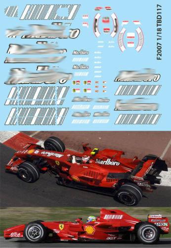 1/18  FERRARI F1 F2007 F 2007 RAIKKONEN TBD117