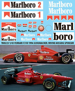 1/43 MARLBORO FERRARI F310 1996 SCHUMACHER IRVINE  SPONSOR DECALS TB DECAL TBD223